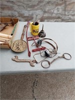 HORSE BIT, WHIP, OIL CAN, WRENCH AND MISC