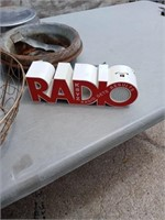 MILK CAN LIDS, WIRE BASKET AND RADIO