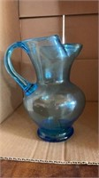 MISCELLANEOUS BLUE GLASS VASES, BOTTLES AND