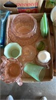 MISCELLANEOUS PINK DEPRESSION GLASS AND GREEN