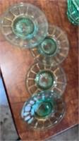 10 GREEN DEPRESSION GLASS SHERBERTS  AND 4  SALAD