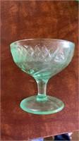 5 GREEN DEPRESSION GLASS SHERBERTS  3 SALAD
