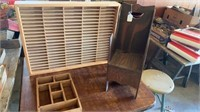 A DIVIDER BOX 18in, TALL WOODEN CHAIR 20in, SHELF