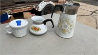 SHORT AND TALL COFFEE POT AND CORNING WARE PIE