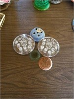 SOAP DISHES, FLOWER HOLDERS, MISCELLANOUS ITEMS