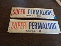 "2 MOTOR OIL SIGNS, 18"" X 5 """