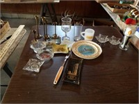 BRASS CANDLE HOLDERS,  ASH TRAYS, MISCELLANOUS