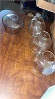 GLASS CLOBES, GLASS SNACK PLATE, 2 GLASS EGG