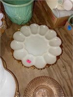 WHITE EGG SERVER AND RELISH DISHES