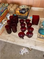 8 RED GLASS CUPS AND 6 GLASSES