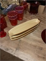 DECORATIVE RED AND PINK GLASS, MISC