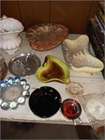ASH TRAYS AND MISC GLASS