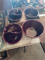 4 MARQUEST STONE WARE DISHES, LIGHT HOUSE