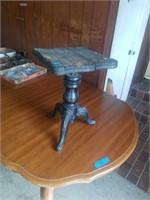 ANTIQUE PIANO STOOL, METAL BOX