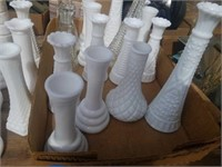 BOX OF MILK GLASS AND GLASS VASES