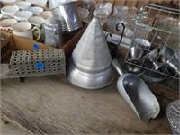 BRASS SOAP DISH, MISCELLANOUS KITCHEN ITEMS