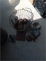 WIRE BASKET OF MISC METAL PIECES