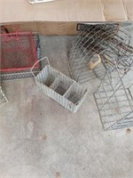 LARGE BOX OF METAL BASKETS AND MISC
