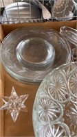 5 GLASS PLATES, 2 GLASS BOWLS, MISC ITEMS