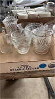 DIFFERENT GLASS CUPS AND TINY GLASS BOWLS