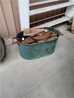 ANTIQUE COPPER CONTAINER WITH HANDLES