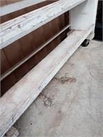 WOOD GARAGE CART/SHELF ON ROLLERS