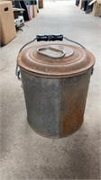 2 METAL BUCKETS, ANTIQUE TOOLS, AND METAL