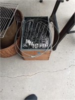 WOOD BOX FULL OF MISC METAL