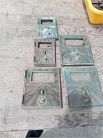 5 BRASS POST OFFICE BOX DOORS