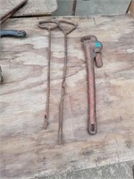 VINTAGE HAY HOOKS AND PIPE WRENCH