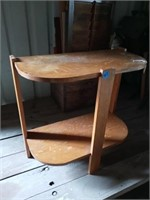 TIERED TIGER ATRIPED OAK END TABLE