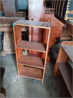 2 WOOD SHELVES AND A SIDE TABLE