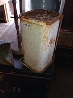ASHTRAY STAND, TRASH CAN AND LUMBER AD