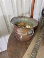 SMALL TABLE, ASH TRAY BRASS BUCKET AND MISC