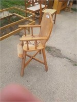 """ANTIQUE HIGH CHAIR AND TODDLER BED - 56"""" X 29"""" X"""