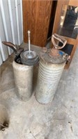 2 VINTAGE SPRAYERS -1 IS MISSING TOP AND FULL OF
