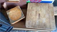 2 CUTTING  BOARDS -)MISC WOOD ITEMS AND CD HOLDER