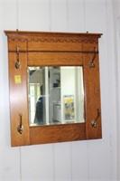Oak Hall Mirror With Hooks