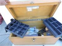 "Vintage Wood Box & Contents 19 1/2""x10 1/2x9"""
