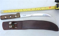 Wood Handled Fillet Knife W/  Leather Sheath