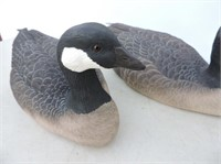 Pair Canada Geese Carved By Wayne Inkster
