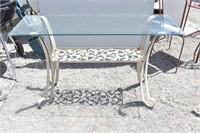"50"" Glass Top Wrought Iron Sofa Table Plus"