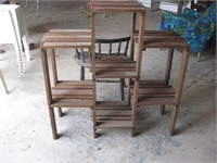 Wood tiered plant stand