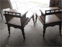 Pair maple step end tables