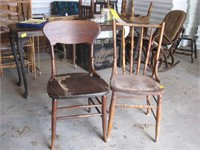 Pair wooden chairs