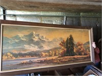 Large wood frame and pictures