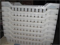 Eight hard/durable plastic trays