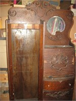 Oak veneer secretary bookcase