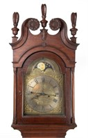 Detail of a Henry Hahn (Reading, Berks Co., PA) Chippendale walnut tall-case clock