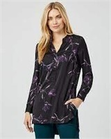 FLORAL PRINT SATIN HIGH-LOW TUNIC BLOUSE- S